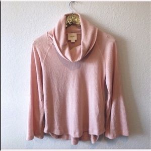 Anthropologie Maeve pink cowl sweater women XS